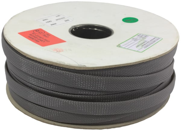 Cardboard reel of grey nylon sleeving
