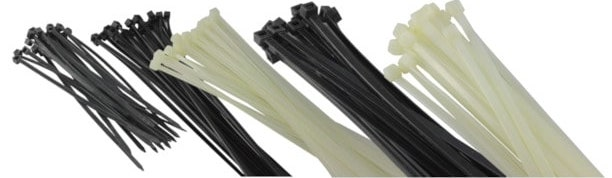 A selection of nylon zip cable ties in black and natural colours