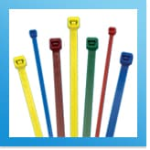 Different colours and sizes of cable ties available